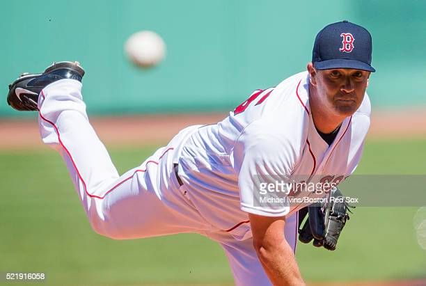 Steven Wright of the Boston Red Sox pitches against the Toronto Blue Jays in the first inning on April 17 2016 at Fenway Park in Boston Massachusetts