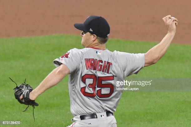 Steven Wright of the Boston Red Sox pitches during a baseball game against the Baltimore Orioles at Oriole Park at Camden Yards on April 22 2017 in...