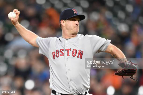 Steven Wright of the Boston Red Sox pitches during a baseball game against the Baltimore Orioles at Oriole Park at Camden Yards on June 11 2018 in...