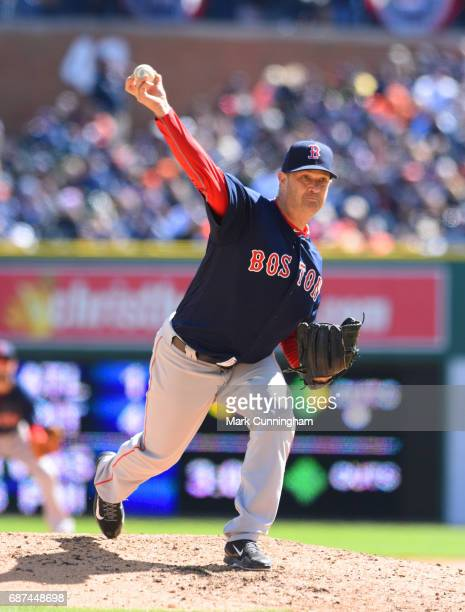 Steven Wright of the Boston Red Sox pitches during the Opening Day game against the Detroit Tigers at Comerica Park on April 7 2017 in Detroit...