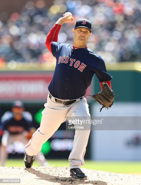 Steven Wright of the Boston Red Sox pitches during the second inning of the opening day game against the Detroit Tigers on April 7 2017 at Comerica...