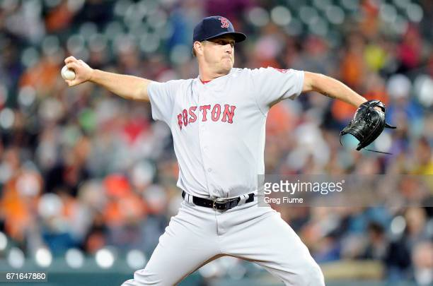 Steven Wright of the Boston Red Sox pitches in the first inning against the Baltimore Orioles at Oriole Park at Camden Yards on April 22 2017 in...
