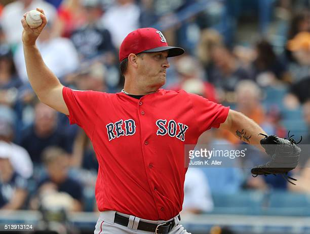 Steven Wright of the Boston Red Sox pithces during the game against the New York Yankees at George M Steinbrenner Field on March 5 2016 in Tampa...