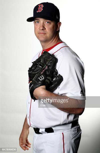 Steven Wright of the Boston Red Sox poses for a portrait during the Boston Red Sox photo day on February 19 2017 at JetBlue Park in Ft Myers Florida