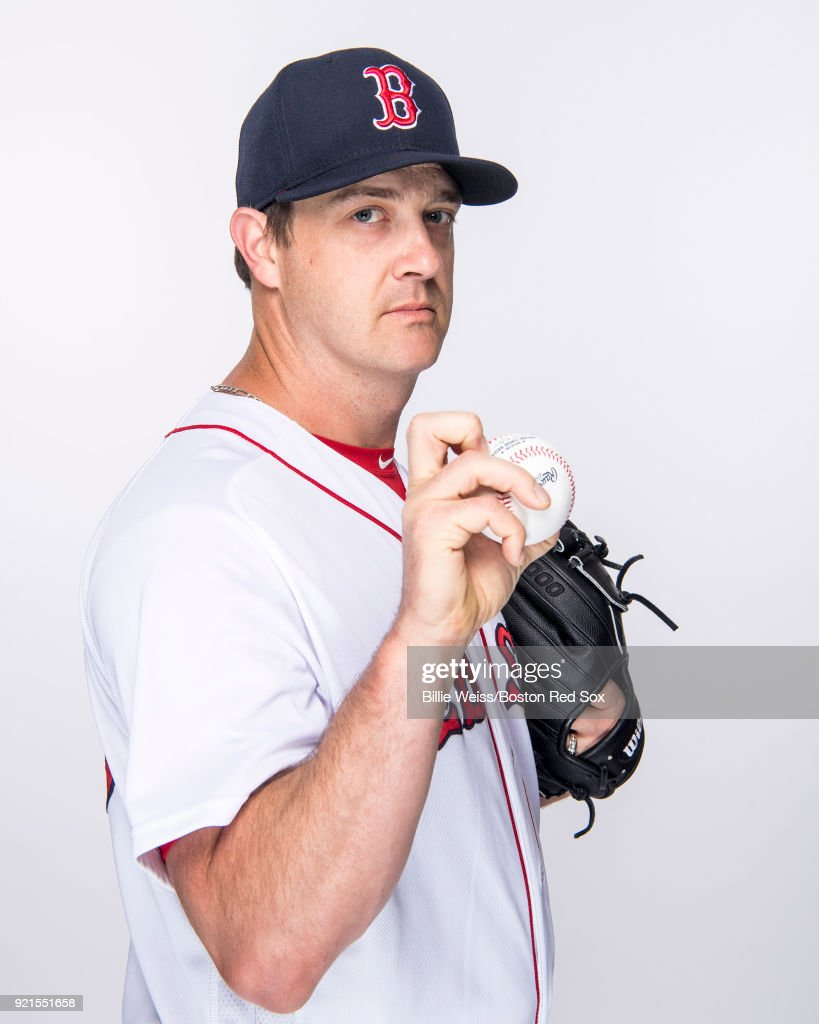 Steven Wright #35 of the Boston Red Sox poses for a portrait on team photo day on February 20, 2018 at jetBlue Park at Fenway South in Fort Myers, Florida .