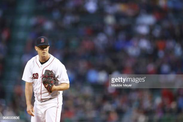 Steven Wright of the Boston Red Sox prepares to pitch against the Detroit Tigers during the second inning at Fenway Park on June 5 2018 in Boston...