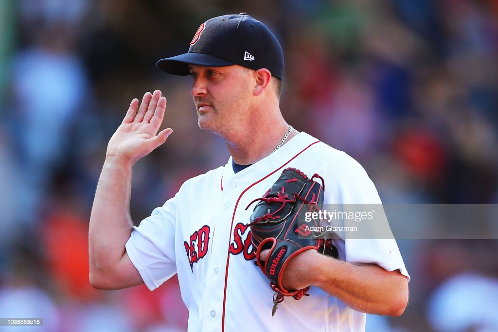Steven Wright #35 of the Boston Red Sox reacts after a victory over the New York Mets at Fenway Park on September 16, 2018 in Boston, Massachusetts.