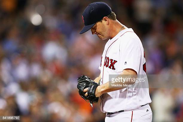 Steven Wright of the Boston Red Sox reacts after pitching the ninth inning against the Chicago White Sox at Fenway Park on June 20 2016 in Boston...