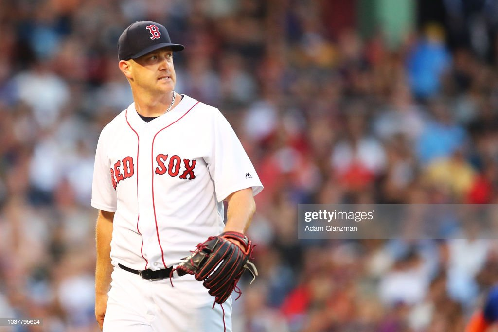 Steven Wright #35 of the Boston Red Sox reacts after the third out is made in the seventh inning of a game against the New York Mets at Fenway Park on September 15, 2018 in Boston, Massachusetts.