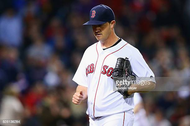 Steven Wright of the Boston Red Sox returns to the dugout after pitching the third inning against the Atlanta Braves on April 27 2016 in Boston...