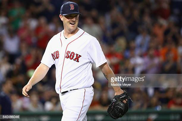 Steven Wright of the Boston Red Sox si relieved during the eighth inning against the Baltimore Orioles at Fenway Park on June 15 2016 in Boston...