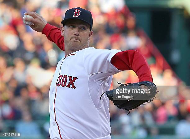 Steven Wright of the Boston Red Sox throws a knukkle ball in the first inning against the Los Angeles Angels at Fenway Park on May 23 2015 in Boston...