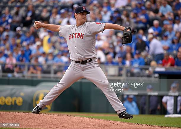Steven Wright of the Boston Red Sox throws in the first inning against the Kansas City Royals during the first game of a doubleheader at Kauffman...