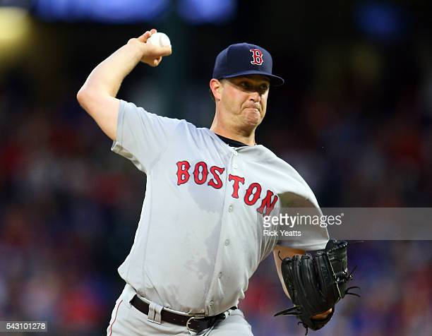 Steven Wright of the Boston Red Sox throws in the first inning against the Texas Rangers at Globe Life Park in Arlington on June 25 2016 in Arlington...