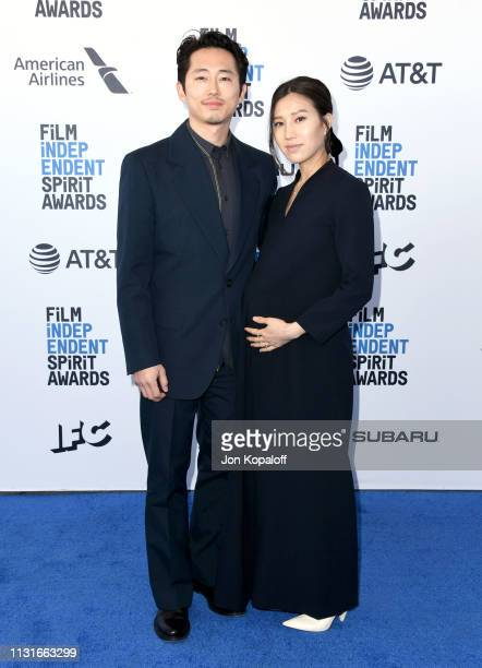 Steven Yeun and Joana Pak attend the 2019 Film Independent Spirit Awards on February 23 2019 in Santa Monica California