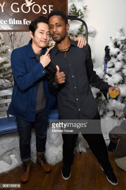 Steven Yeun and Lakeith Stanfield attend the 'Sorry to Bother You' After Party at Sundance Film Festival 2018 at The Grey Goose Blue Door on January...