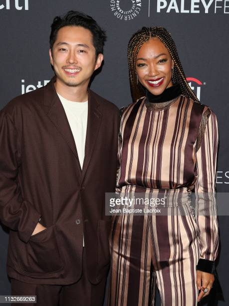 Steven Yeun and Sonequa MartinGreen attend the Paley Center For Media's 2019 PaleyFest LA 'Star Trek Discovery' and 'The Twilight Zone' held at the...