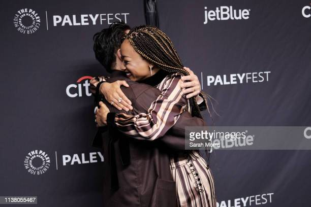 Steven Yeun and Sonequa MartinGreen attend The Paley Center for Media's 2019 PaleyFest LA Star Trek Discovery and The Twilight Zone at Dolby Theatre...