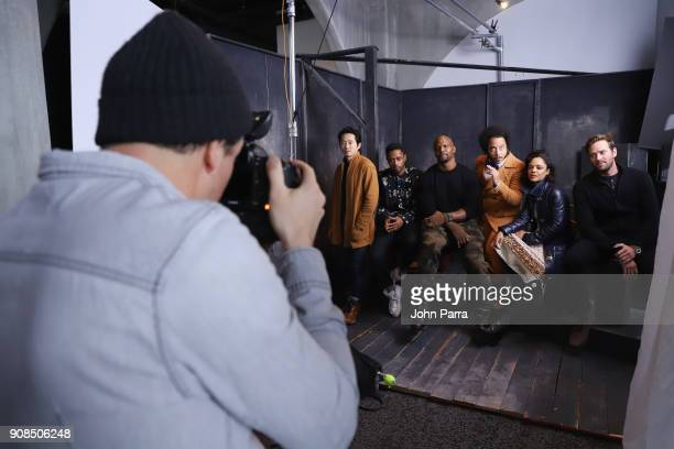 Steven Yeun Keith Stanfield Terry Crews Boots Riley Tessa Thompson and Armie Hammer from 'Sorry To Bother You' attend The Hollywood Reporter 2018...