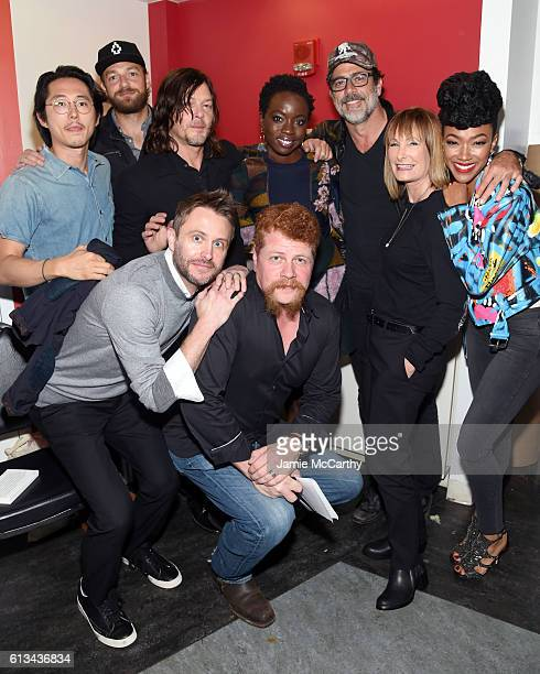 Steven Yeun Ross Marquand Norman Reedus Chris Hardwick Michael Cudlitz Danai Gurira Jeffrey Dean Morgan Gale Ann Hurd and Sonequa Martin attend AMC...