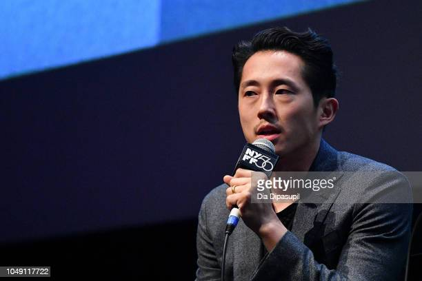 Steven Yeun speaks onstage at the Burning screening QA during the 56th New York Film Festival at Alice Tully Hall Lincoln Center on October 03 2018...