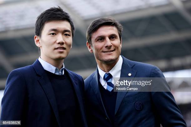 Steven Zhang and Javier Zanetti vicepresident of FC Internazionale pose for a photo before the Serie A football match between Torino FC and FC...