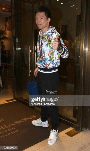 Steven Zhang arrives at the Domenico Dolce birthday party during Milan Fashion Week Spring/Summer 2019 at Four Seasons Hotel on September 23 2018 in...