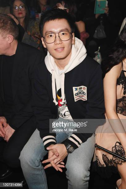 Steven Zhang is seen on Gucci Front Row during Milan Fashion Week Fall/Winter 2020/21 on February 19 2020 in Milan Italy