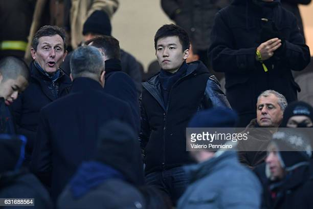 Steven Zhang of FC Internazionalelooks on during the Serie A match between FC Internazionale and AC ChievoVerona at Stadio Giuseppe Meazza on January...