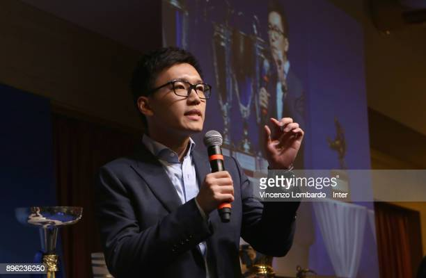 Steven Zhang speaks during the FC Internazionale Youth Teams Christmas Party at on December 20 2017 in near Milan Italy