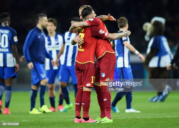 Steven Zuber and Kevin Vogt of the TSG 1899 Hoffenheim after the game between Hertha BSC and TSG Hoffenheim on march 31 2017 in Berlin Germany 22 and...