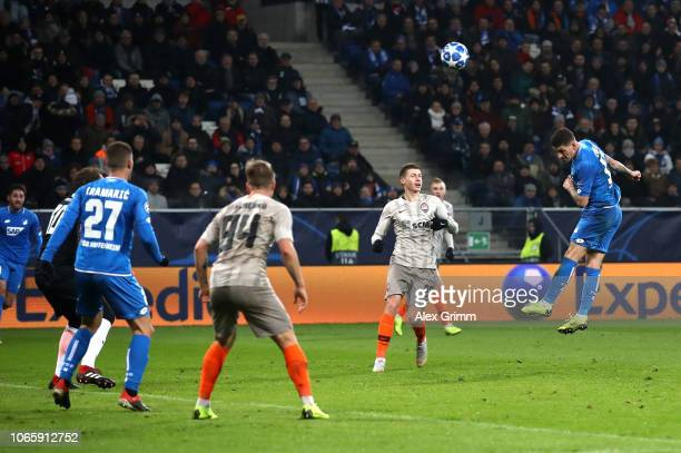 Steven Zuber of 1899 Hoffenheim scores his teams second goal during the UEFA Champions League Group F match between TSG 1899 Hoffenheim and FC...