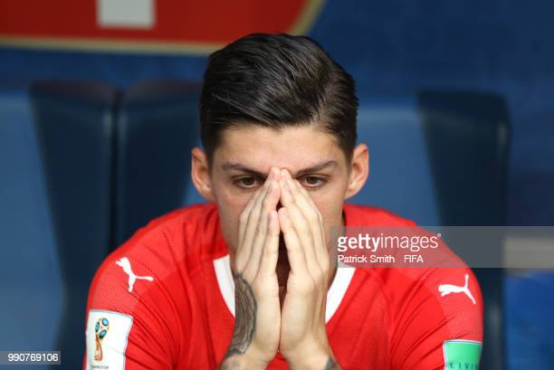 Steven Zuber of Switzerland looks dejected following the 2018 FIFA World Cup Russia Round of 16 match between Sweden and Switzerland at Saint...