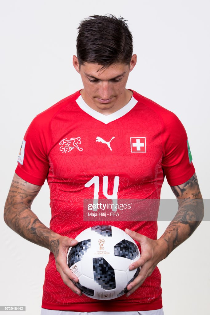 Steven Zuber of Switzerland poses for a portrait during the official FIFA World Cup 2018 portrait session at the Lada Resort on June 12, 2018 in Samara, Russia.