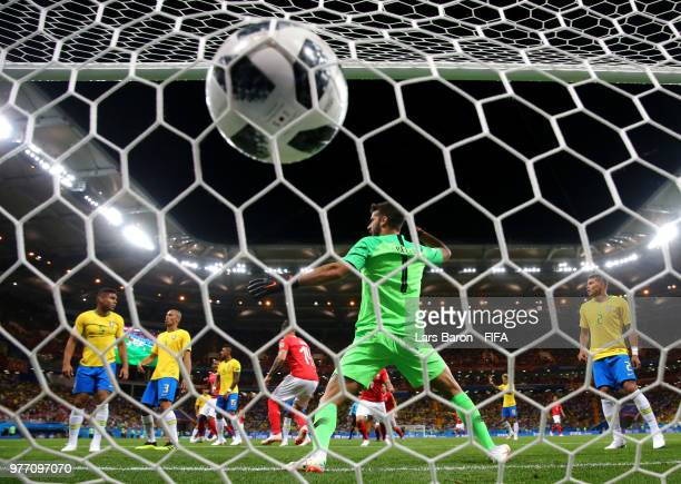 Steven Zuber of Switzerland scores his sides first goal past Alisson of Brazil to make the score 11 during the 2018 FIFA World Cup Russia group E...