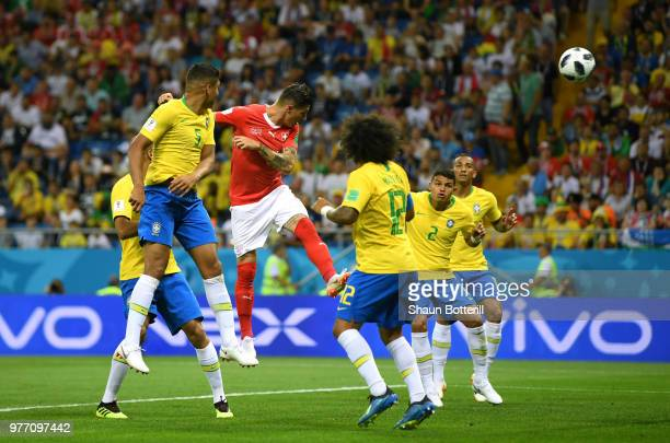 Steven Zuber of Switzerland scores his sides first goal to make the score 11 during the 2018 FIFA World Cup Russia group E match between Brazil and...