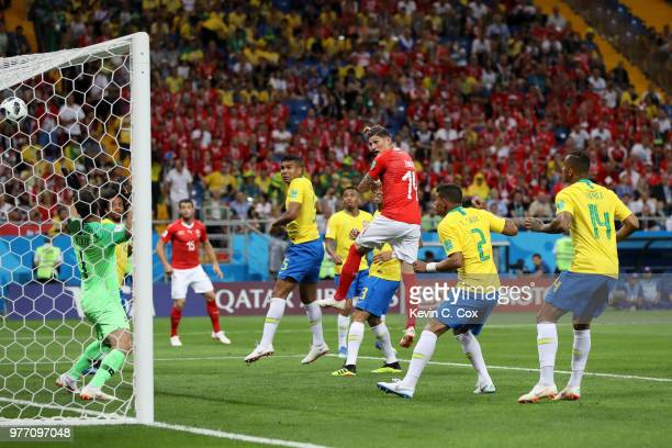 Steven Zuber of Switzerland scores his team's first goal during the 2018 FIFA World Cup Russia group E match between Brazil and Switzerland at Rostov...