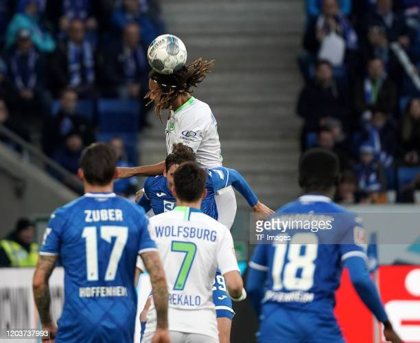 Steven Zuber of TSG 1899 Hoffenheim Josip Brekalo of VfL Wolfsburg Robert Skov of TSG 1899 Hoffenheim Kevin Mbabu of VfL Wolfsburg Diadie Samassekou...