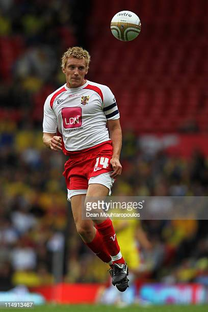 Stevenage Captain Mark Roberts heads the ball during the npower League Two Playoff Final between Stevenage and Torquay United at Old Trafford on May...