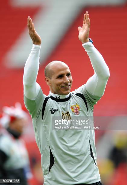 Stevenage First Team Coach Dino Maamria celebrates after his side win the npower League Two PlayOff Final