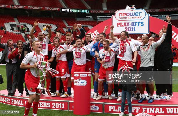 Stevenage lift the Play Off trophy