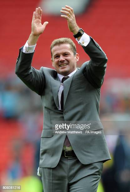 Stevenage manager Graham Westley celebrates after his side win the npower League Two PlayOff Final