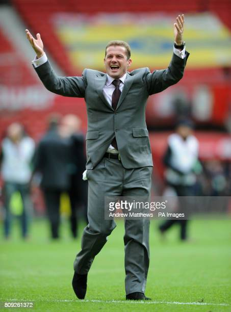 Stevenage manager Graham Westley celebrates after the final whistle during the npower League Two PlayOff Final at Old Trafford Manchester