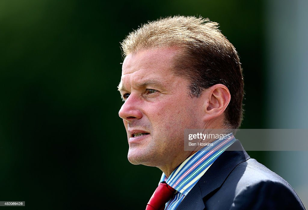 Stevenage manager Graham Westley looks on prior to the Pre Season Friendly match between Stevenage and West Ham United at The Lamex Stadium on July 12, 2014 in Stevenage, England.