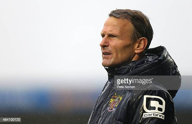 Stevenage manager Teddy Sheringham looks on during the Sky Bet League Two match between Northampton Tpwn and Stevenage at Sixfields Stadium on...