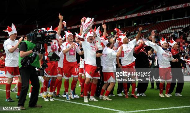 Stevenage players celebrate winning during the npower League Two PlayOff Final at Old Trafford Manchester