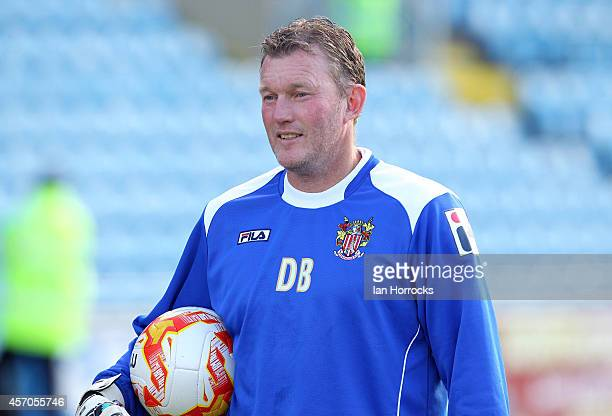Stevenage substitute goal keeper Dave Beasant warms up during the Sky Bet League Two match between Carlisle United and Stevenage FC at Brunton Park...