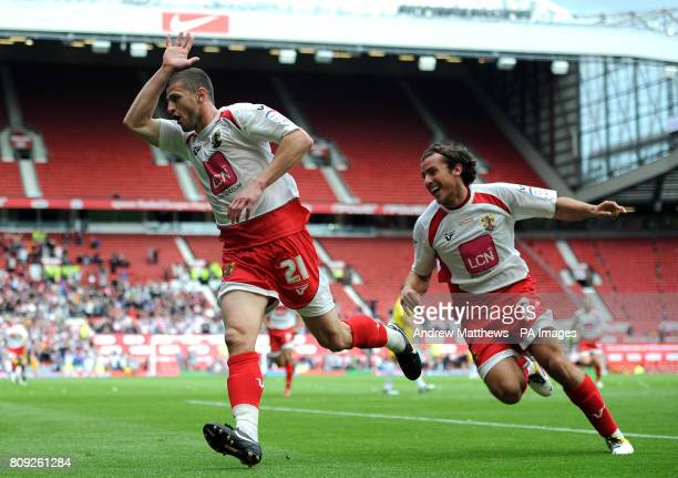 Stevenage's John Mousinho celebrates with team mate Lawrie Wilson after scoring the opening goal of the game during the npower League Two PlayOff...