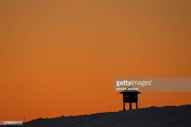 A Stevenson screen in the research station Kings Bay in NyAlesund on Spitsbergen Norway 09 April 2015 In the FrenchGerman AWIPEV Arctic Research Base...