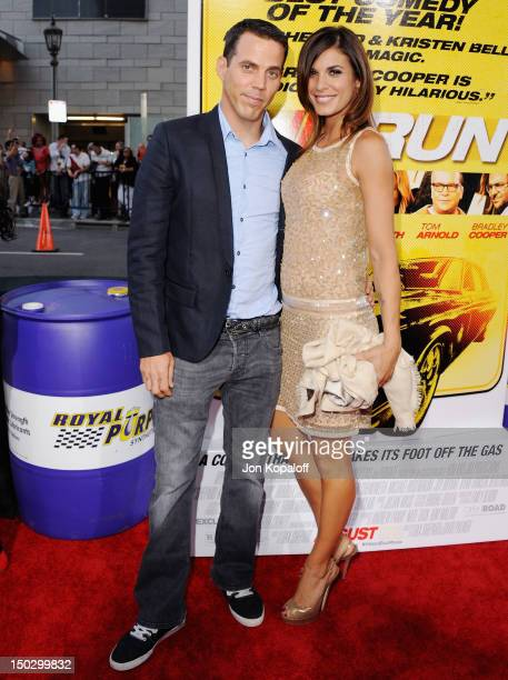 SteveO and actress Elisabetta Canalis arrive at the Los Angeles Premiere 'Hit Run' at Regal Cinemas LA Live on August 14 2012 in Los Angeles...